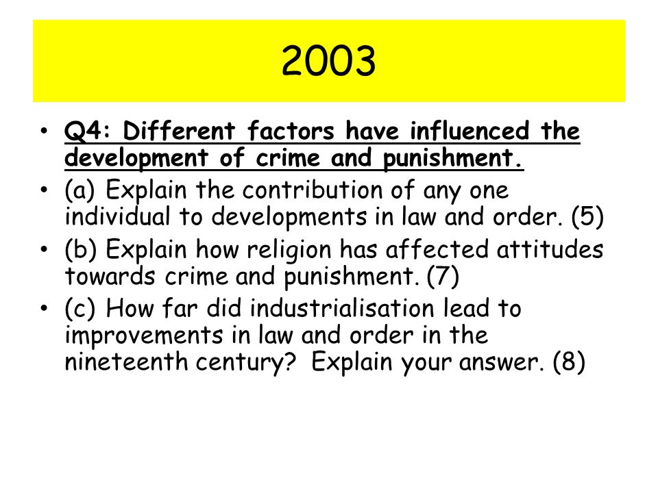 2003 Q4: Different factors have influenced the development of crime and punishment.