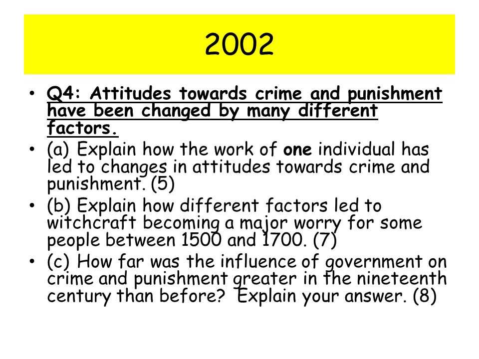 2002 Q4: Attitudes towards crime and punishment have been changed by many different factors.