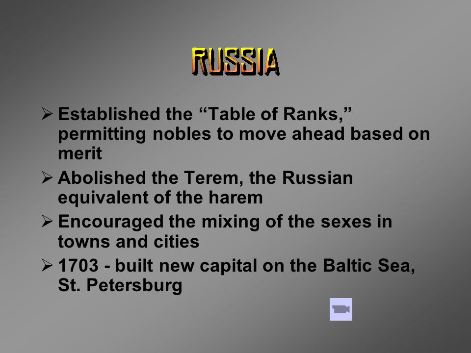Established the Table of Ranks, permitting nobles to move ahead based on merit