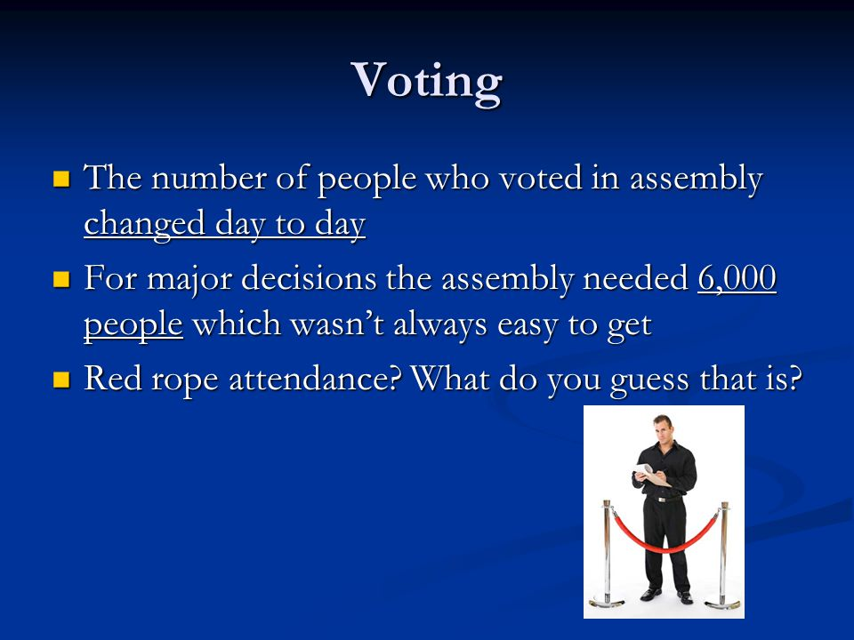 Voting The number of people who voted in assembly changed day to day