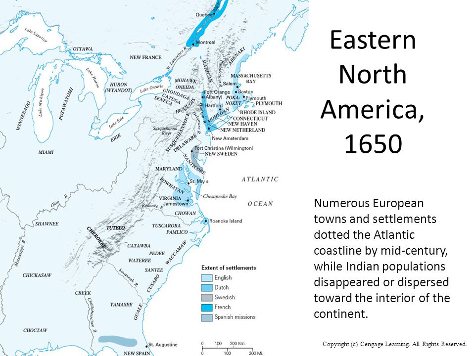 Numerous European towns and settlements dotted the Atlantic coastline by mid-century, while Indian populations disappeared or dispersed toward the interior of the continent.