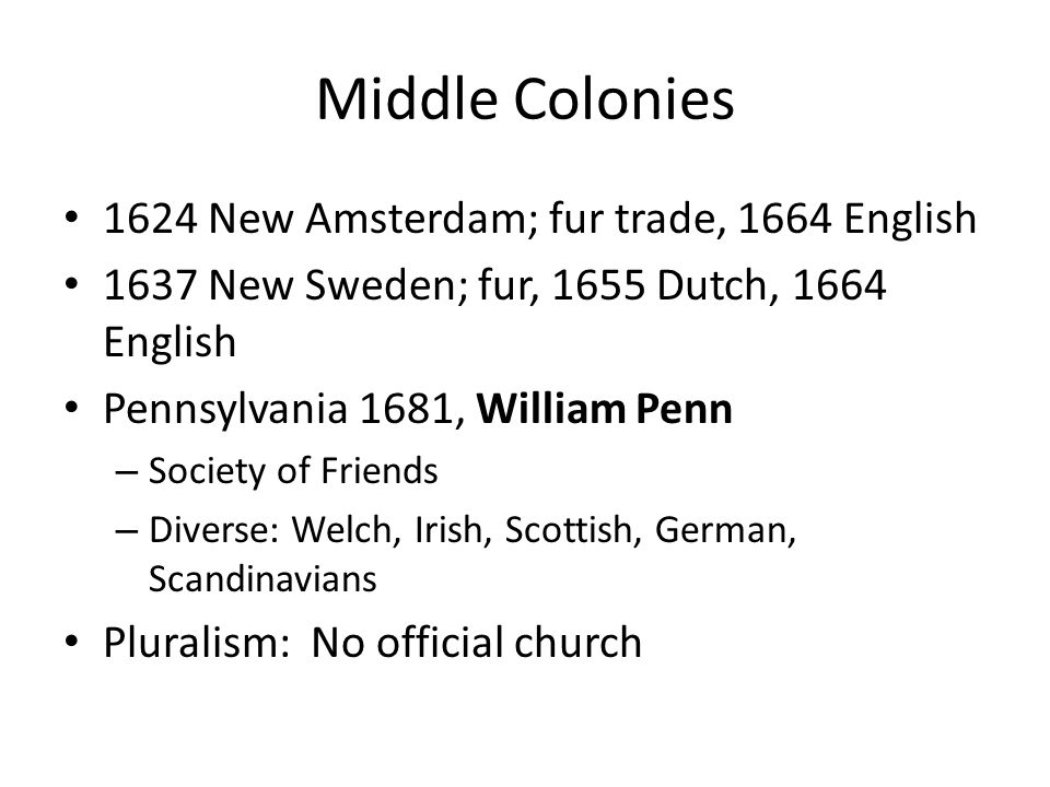 Middle Colonies 1624 New Amsterdam; fur trade, 1664 English