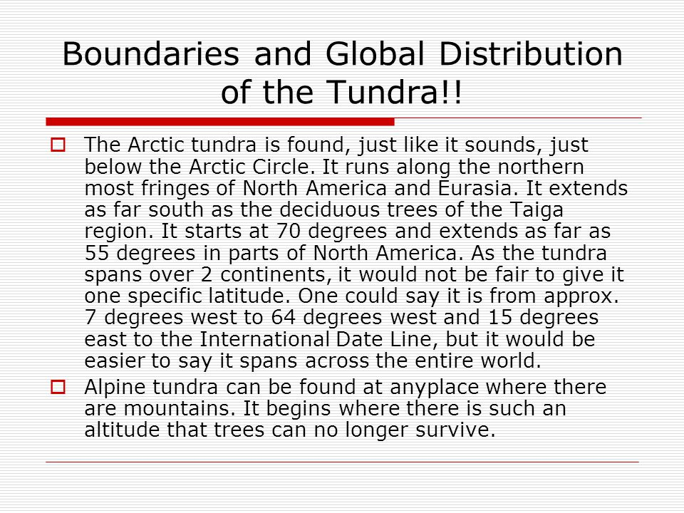 Boundaries and Global Distribution of the Tundra!!