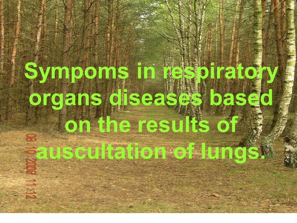 Sympoms in respiratory organs diseases based on the results of auscultation of lungs.