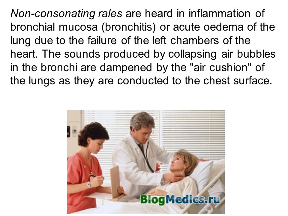 Non-consonating rales are heard in inflammation of bronchial mucosa (bronchitis) or acute oedema of the lung due to the failure of the left chambers of the heart.