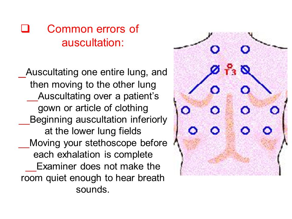 Common errors of auscultation: _Auscultating one entire lung, and then moving to the other lung __Auscultating over a patient's gown or article of clothing __Beginning auscultation inferiorly at the lower lung fields __Moving your stethoscope before each exhalation is complete __Examiner does not make the room quiet enough to hear breath sounds.