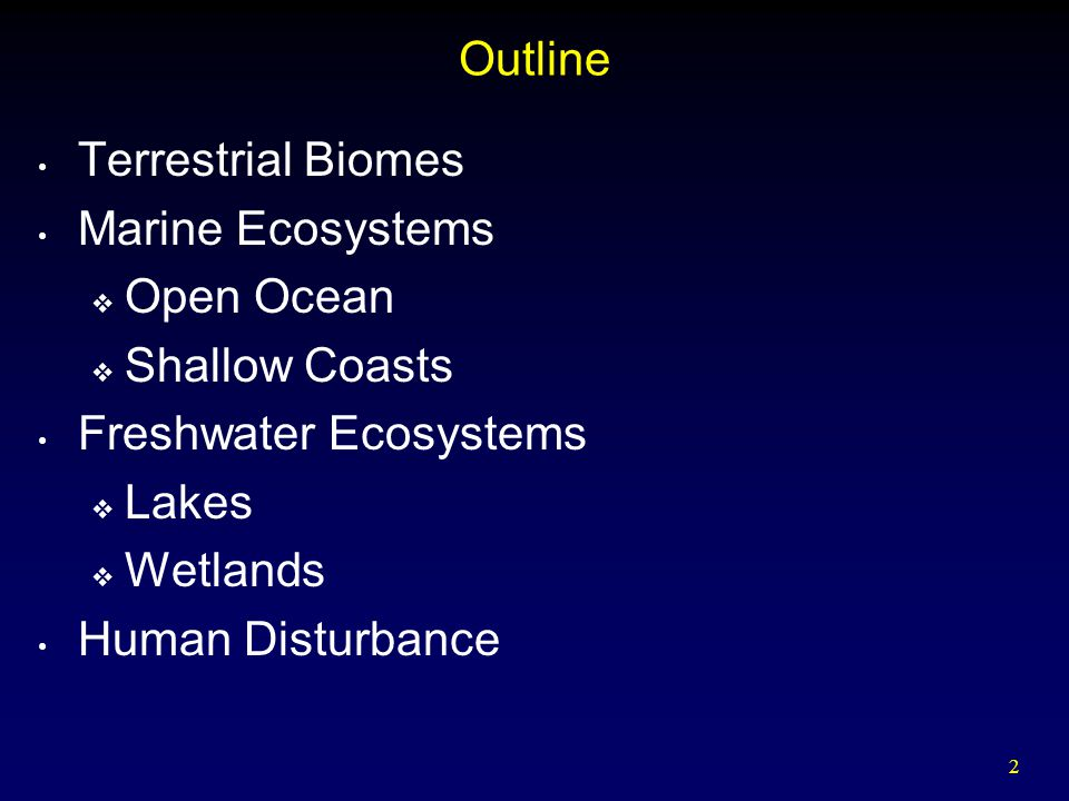 Outline Terrestrial Biomes. Marine Ecosystems. Open Ocean. Shallow Coasts. Freshwater Ecosystems.