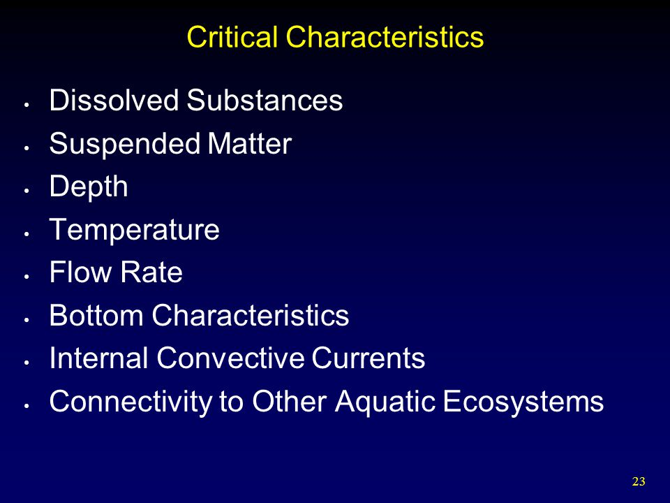 Critical Characteristics