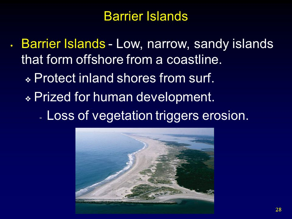 Barrier Islands Barrier Islands - Low, narrow, sandy islands that form offshore from a coastline. Protect inland shores from surf.