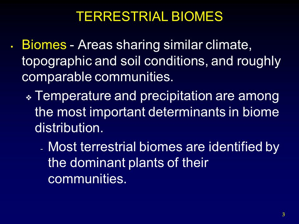 TERRESTRIAL BIOMES Biomes - Areas sharing similar climate, topographic and soil conditions, and roughly comparable communities.