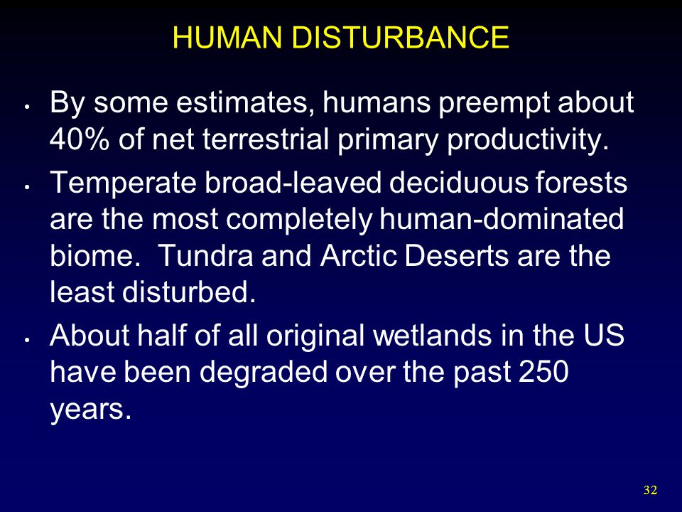 HUMAN DISTURBANCE By some estimates, humans preempt about 40% of net terrestrial primary productivity.