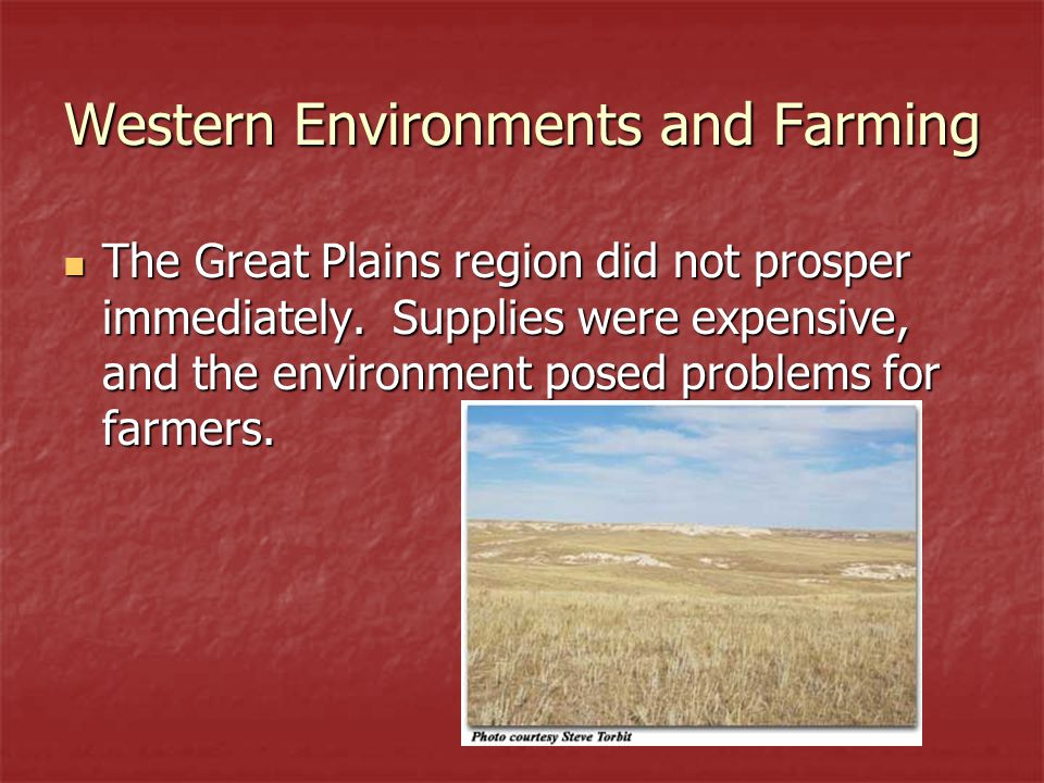 Western Environments and Farming