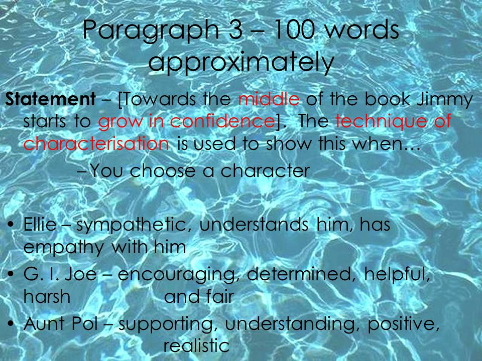 Paragraph 3 – 100 words approximately