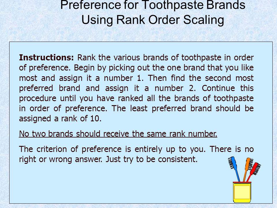 Preference for Toothpaste Brands Using Rank Order Scaling