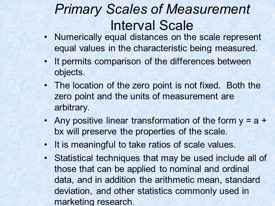 Primary Scales of Measurement Interval Scale