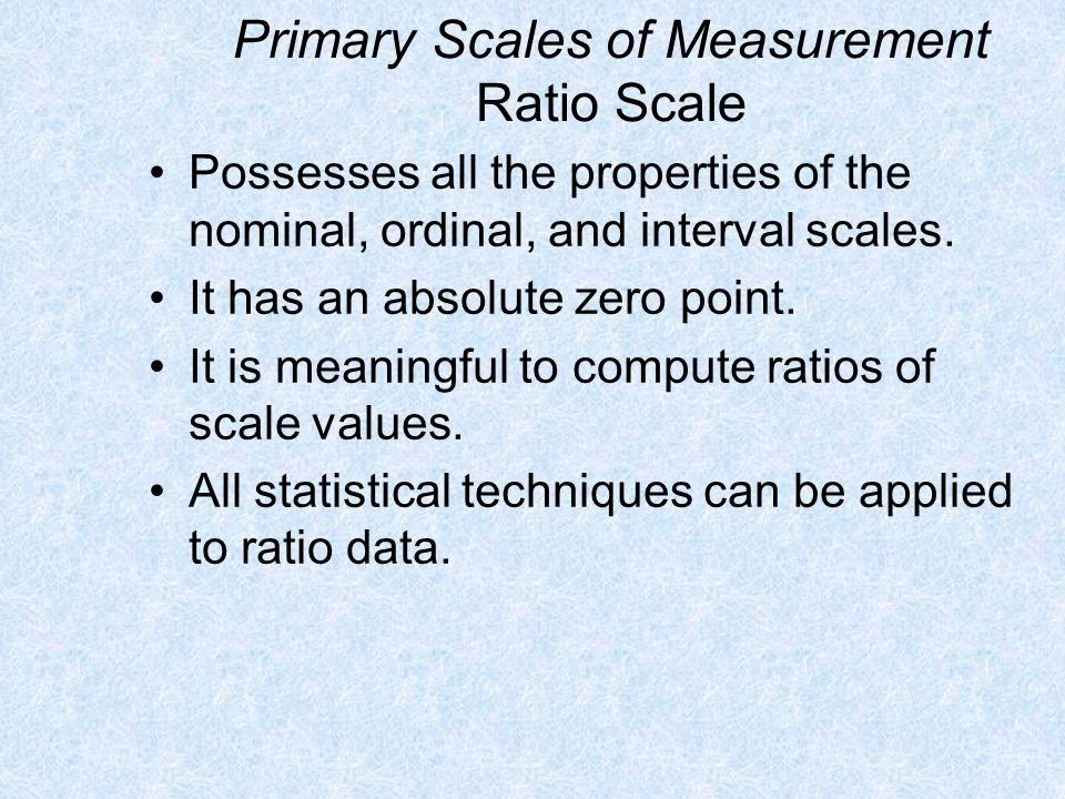 Primary Scales of Measurement Ratio Scale
