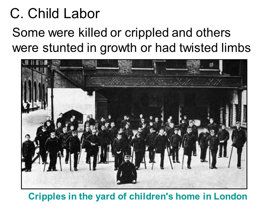 Cripples in the yard of children s home in London