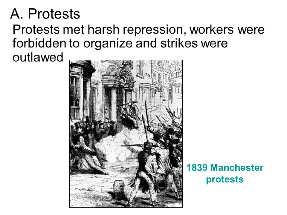 A. Protests Protests met harsh repression, workers were forbidden to organize and strikes were outlawed.