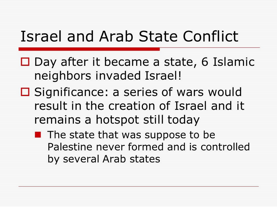 Israel and Arab State Conflict