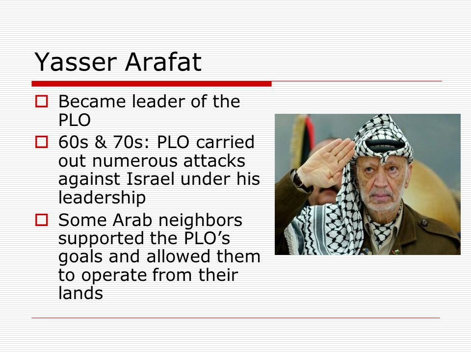 Yasser Arafat Became leader of the PLO