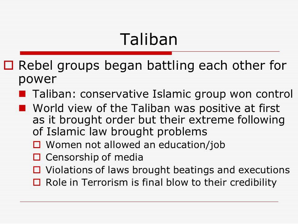 Taliban Rebel groups began battling each other for power