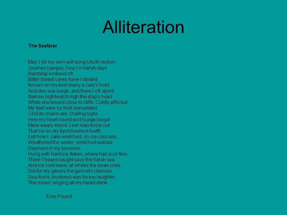 Alliteration The Seafarer