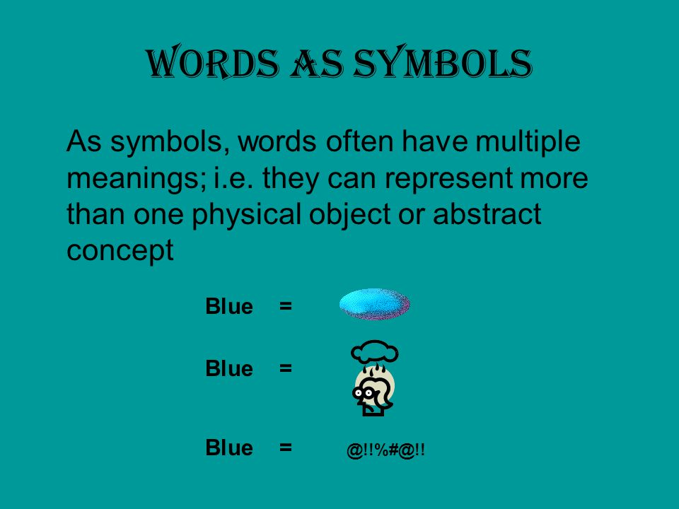 Words as symbols As symbols, words often have multiple meanings; i.e. they can represent more than one physical object or abstract concept.