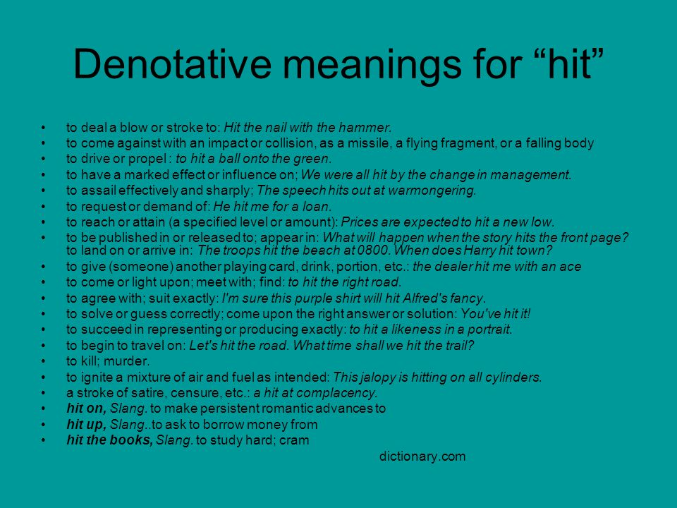 Denotative meanings for hit
