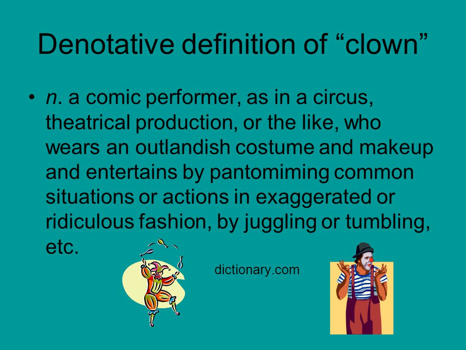 Denotative definition of clown