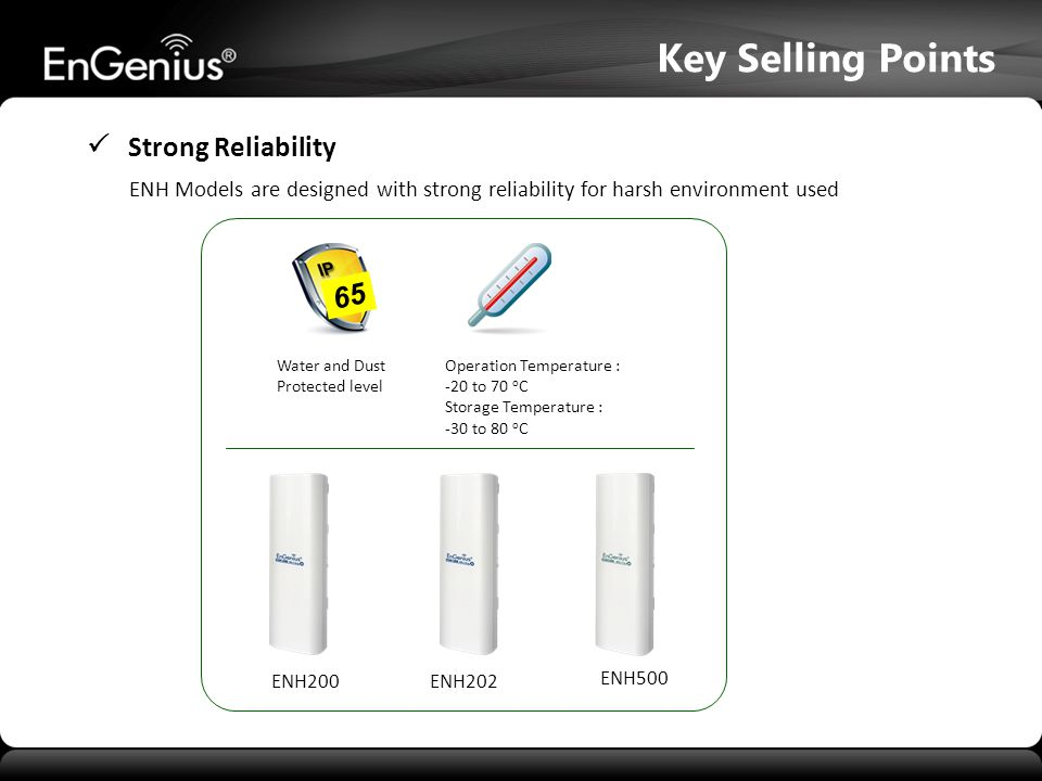Key Selling Points  Strong Reliability 65