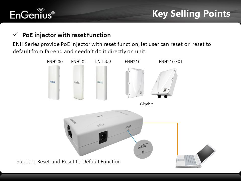 Key Selling Points  PoE injector with reset function