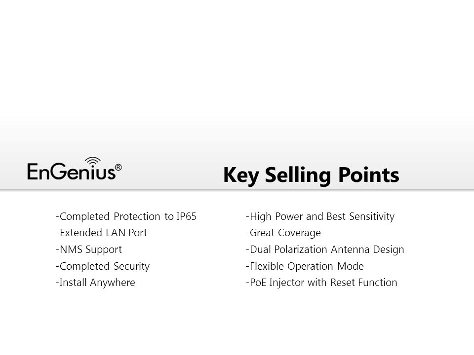 Key Selling Points Completed Protection to IP65 Extended LAN Port