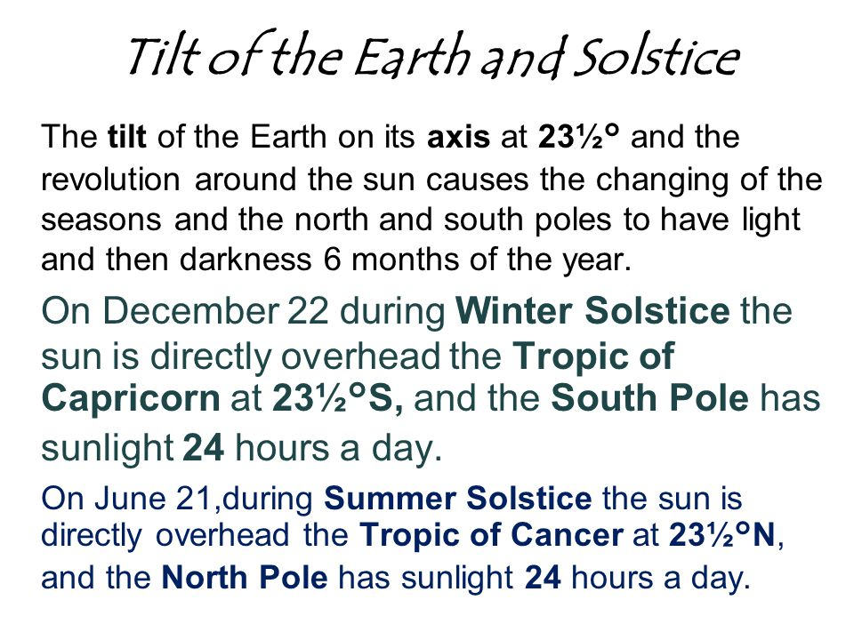 Tilt of the Earth and Solstice