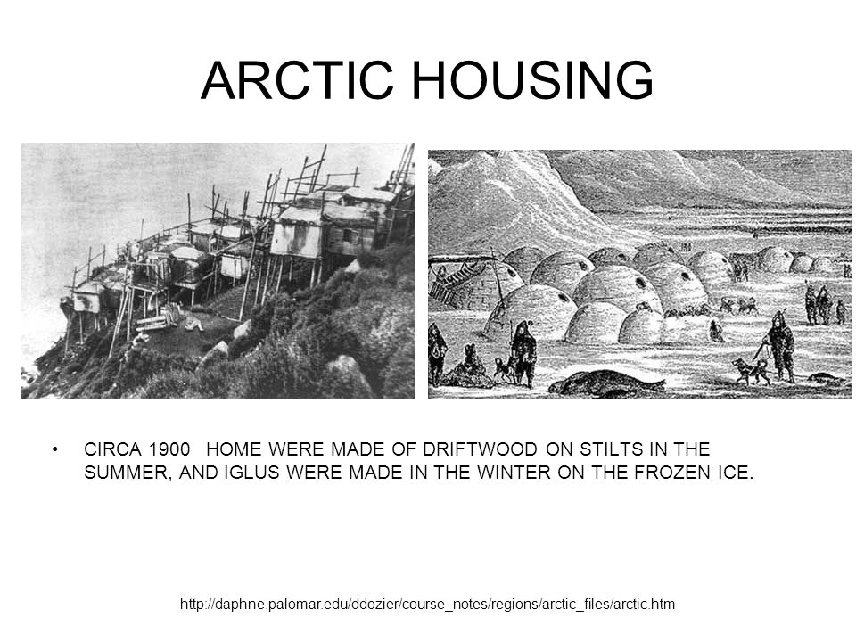 ARCTIC HOUSING CIRCA 1900 HOME WERE MADE OF DRIFTWOOD ON STILTS IN THE SUMMER, AND IGLUS WERE MADE IN THE WINTER ON THE FROZEN ICE.