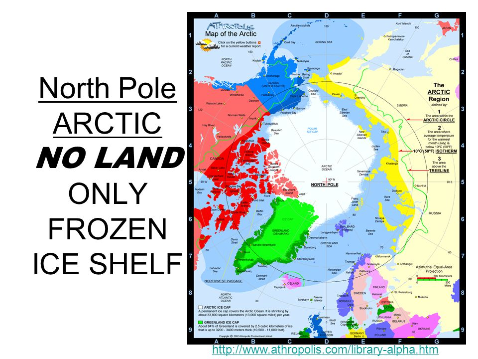North Pole ARCTIC NO LAND ONLY FROZEN ICE SHELF