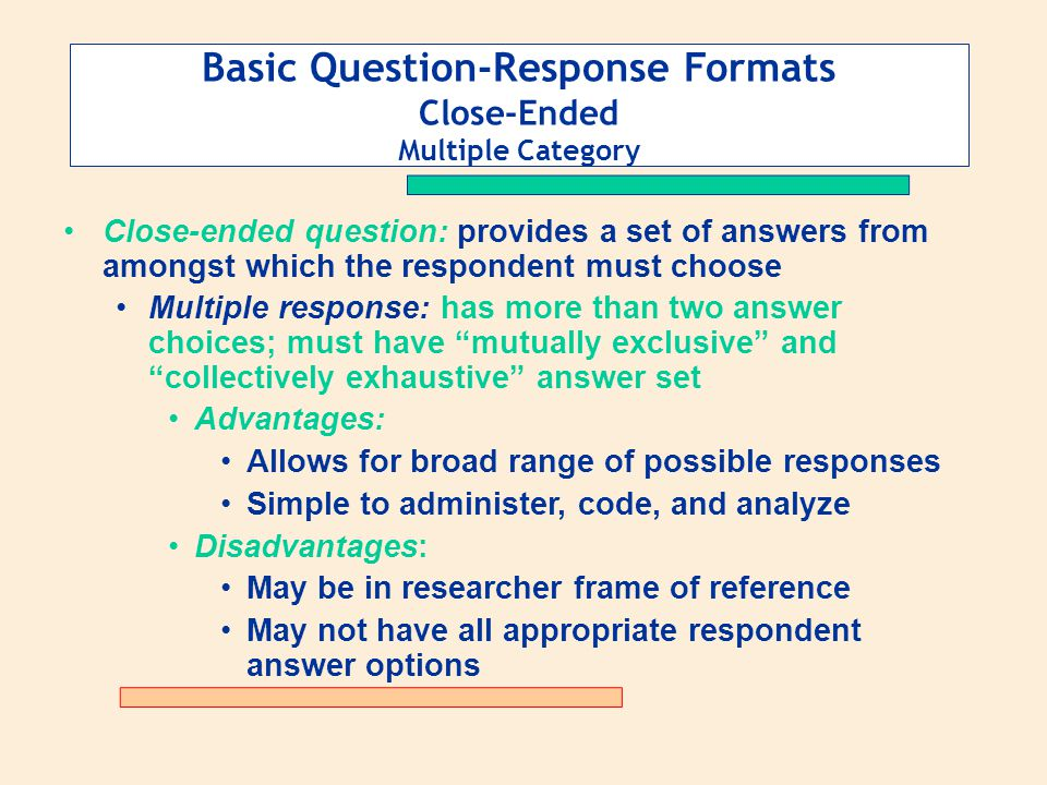 Basic Question-Response Formats