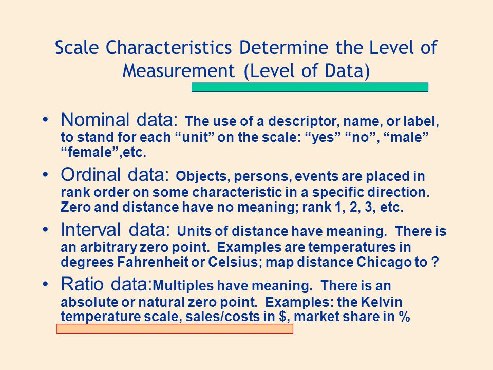 Scale Characteristics Determine the Level of Measurement (Level of Data)