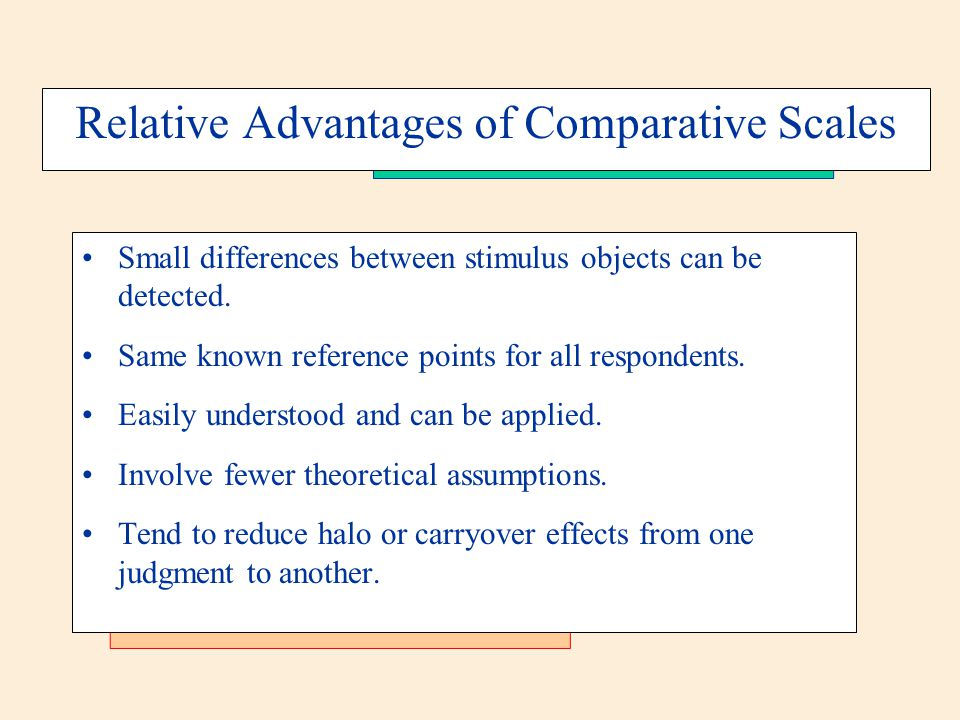 Relative Advantages of Comparative Scales