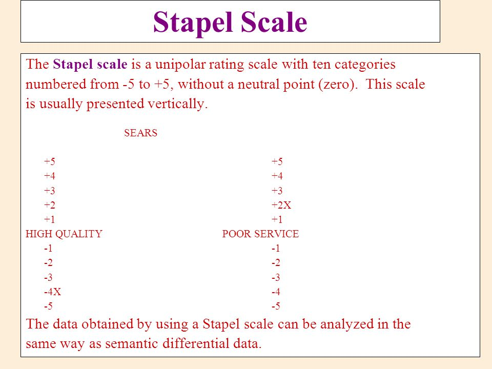 Stapel Scale The Stapel scale is a unipolar rating scale with ten categories. numbered from -5 to +5, without a neutral point (zero). This scale.