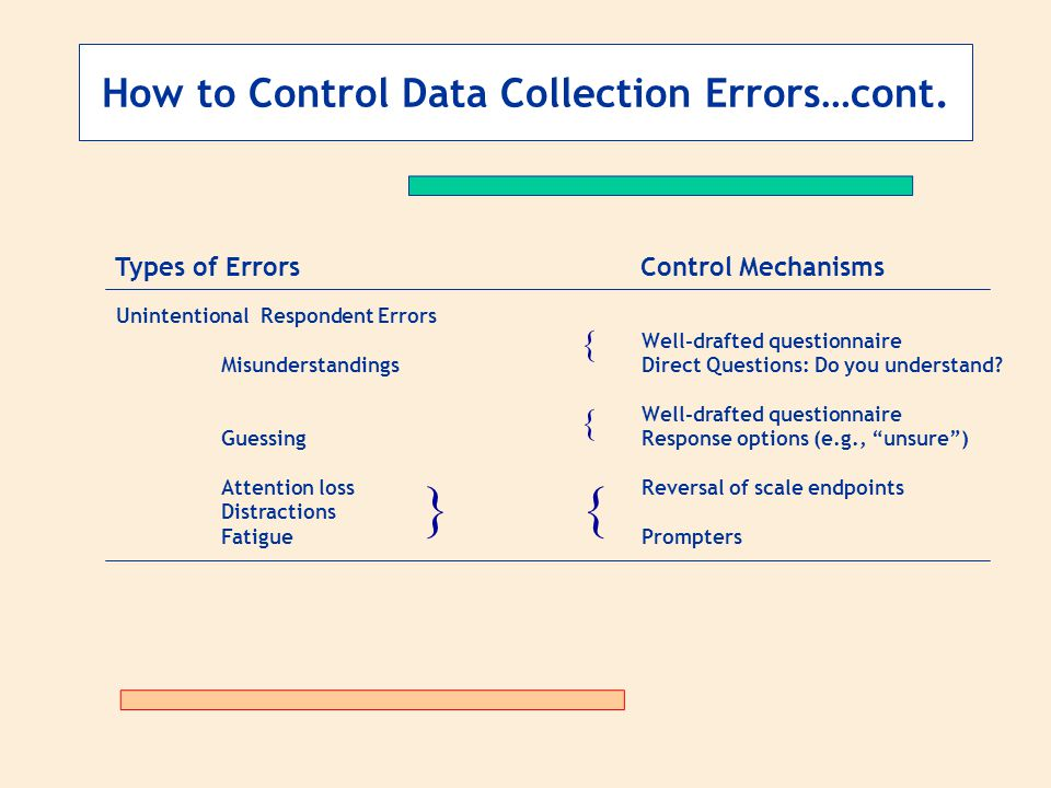 } { How to Control Data Collection Errors…cont. { {