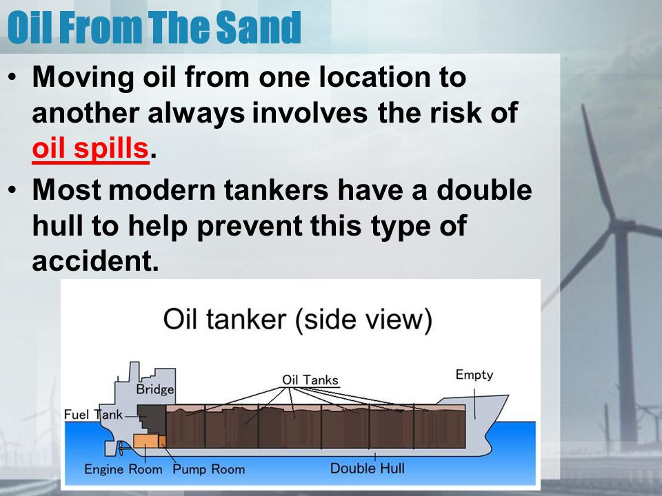 Oil From The Sand Moving oil from one location to another always involves the risk of oil spills.
