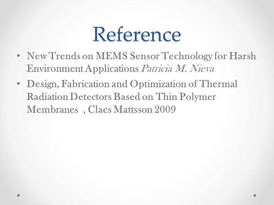 Reference New Trends on MEMS Sensor Technology for Harsh Environment Applications Patricia M. Nieva.