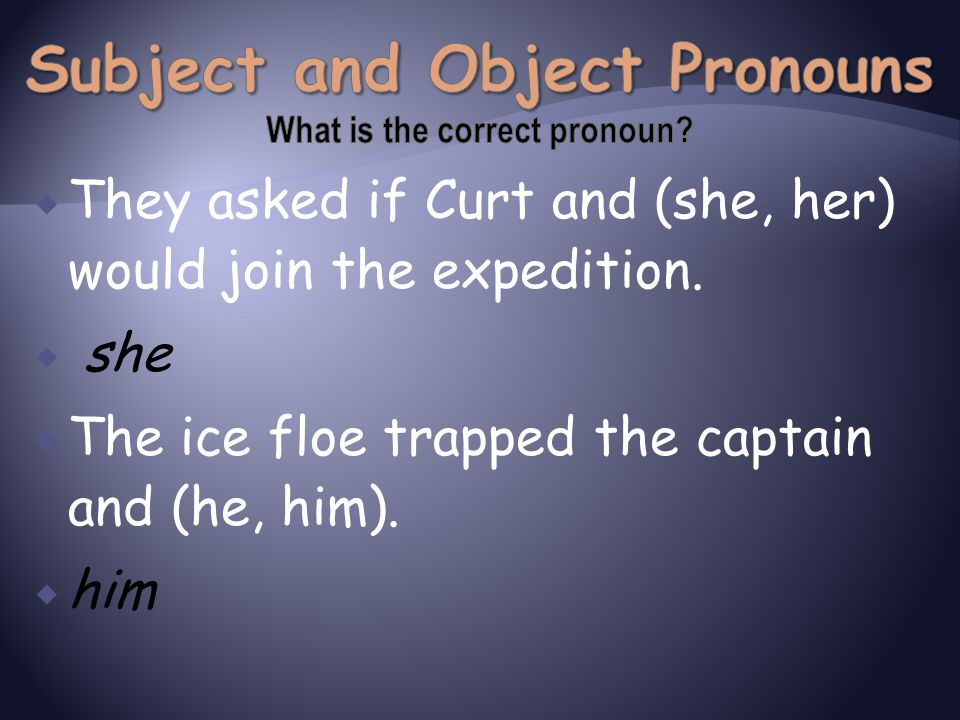Subject and Object Pronouns What is the correct pronoun