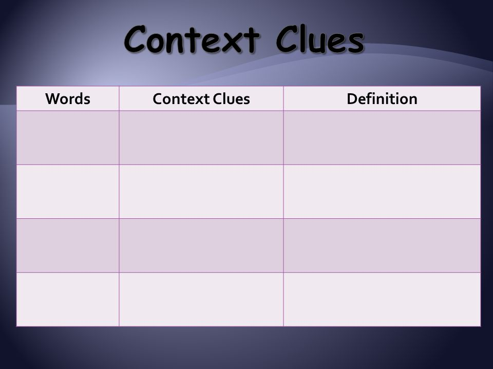 Context Clues Words Context Clues Definition