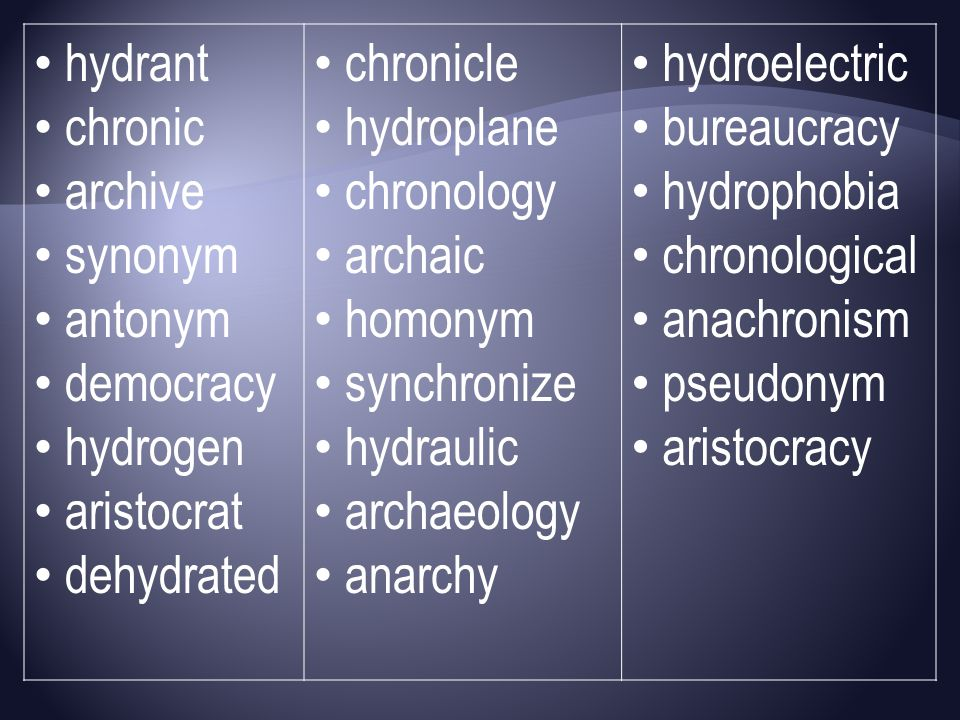 hydrant chronic. archive. synonym. antonym. democracy. hydrogen. aristocrat. dehydrated. chronicle.
