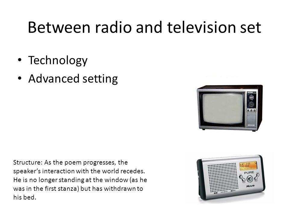 Between radio and television set