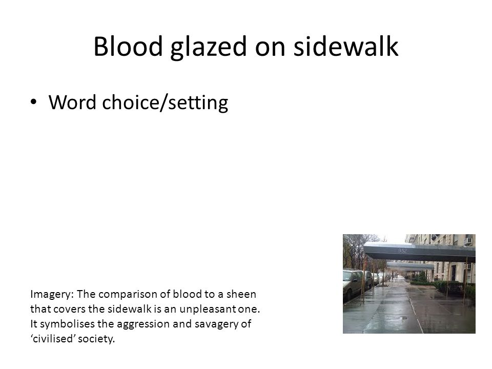 Blood glazed on sidewalk