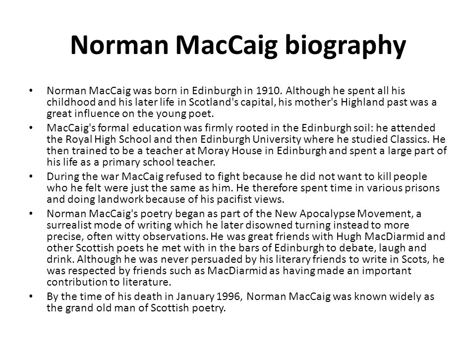 Norman MacCaig biography