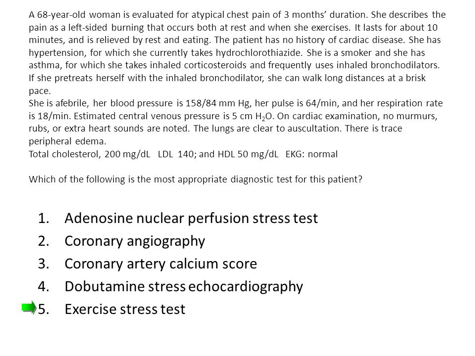 Adenosine nuclear perfusion stress test Coronary angiography