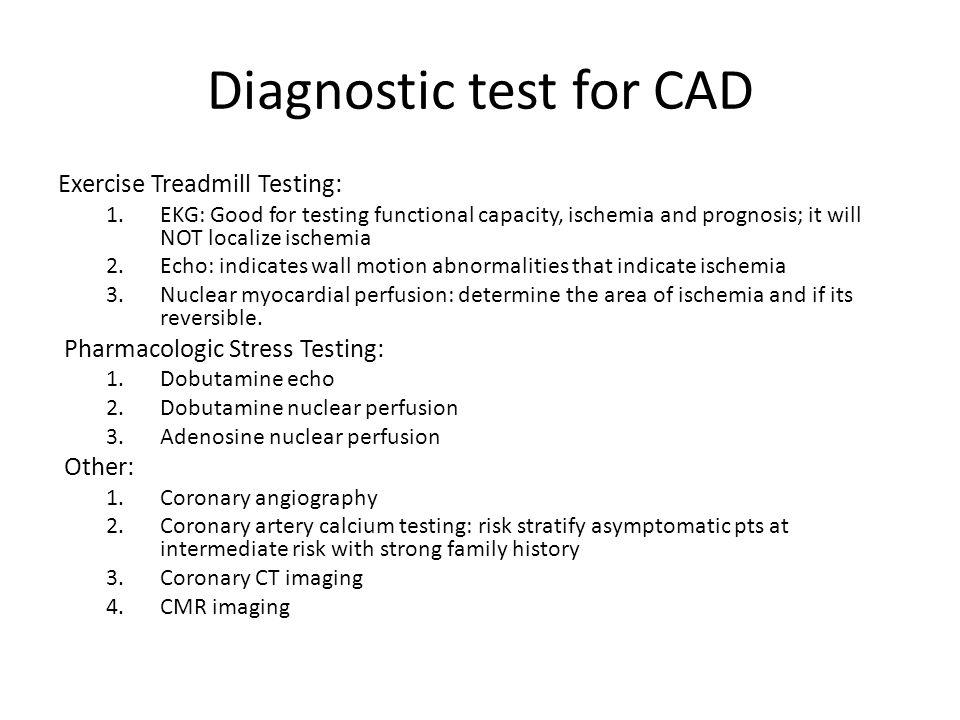 Diagnostic test for CAD